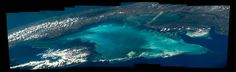 Composite image of blue waters and land of Cuba photographed from low Earth orbit
