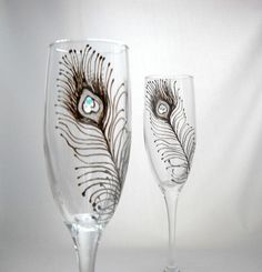 crystal hand painted champagne flute | Peacock Feather Champagne Flutes Hand Painted Glasses with Crystal ...