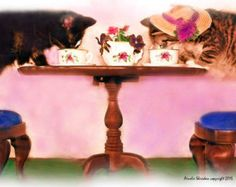 TEA FOR TWO: Kitties, that is. This digital photo was created by using Photoshop & Painter lending it the appearance of an oil painting. - Edit Listing - Etsy