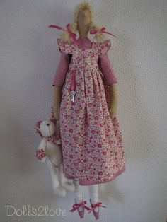 Tilda doll Danielle wearing a pink gingham fabric by Dolls2love