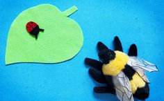 Fun tickle flannel rhyme for babies! A big green leaf, a big green leaf. Little ladybug on a big green leaf.