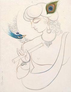 Lord Krishna Paintings for Sale, Lord Krishna Art Paintings Online Madhubani Art, Madhubani Painting, Indian Art Paintings, Modern Art Paintings, Outline Drawings, Art Drawings Sketches Simple, Mural Painting, Painting & Drawing, Mural Art