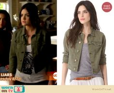 Aria's zebra face top and army green jacket on Pretty Little Liars. Outfit Details: http://wornontv.net/18431