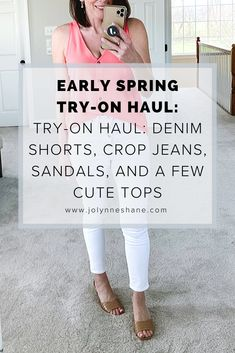 For this week's spring try-on haul, I found the best white cropped jeans, as well as some really good denim shorts and also summer sandals and white court sneakers!!! Also, a really fun jumpsuit for spring and summer events. Click through for links and sizing info!