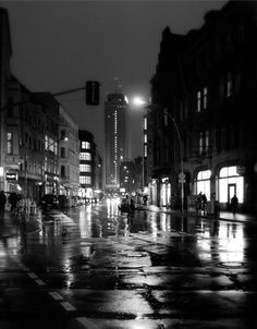 This is a black and white night photograph photography print of Berlin in Germany. The noir landscape art picture with its rain soaked street and noir light and shadow captures the mood and atmosphere of the city. Black And White Picture Wall, Black And White City, Black And White Landscape, Black And White Aesthetic, Black And White Pictures, Berlin Photography, Night Photography, Vintage Photography, Landscape Photography