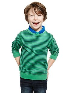 Pure Cotton Striped Sweatshirt (1-7 Years) | M&S
