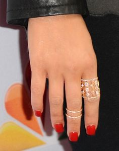 """Singer Christina Aguilera, ring detail, arrives at NBC's """"The Voice"""" Season 8 red carpet event at Pacific Design Center on April 23, 2015 in West Hollywood, California."""