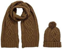 Mens 2pc Chunky Knit Hat And Scarf Set - Khaki