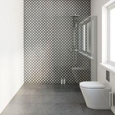 black bathroom furniture on a beige wall and circle patterned floor tiles Black Bathroom Furniture, Cheap Bathroom Flooring, Bathroom Floor Tiles, Tile Floor, Bathroom Taps, Bathroom Cabinets, Black Tile Bathrooms, Cheap Bathrooms, White Bathroom