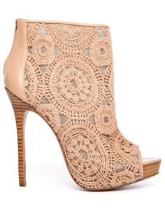 Lace, boudoir-inspired bootie - the Empower in almond.    http://www.charlesdavid.com/store/empower.html