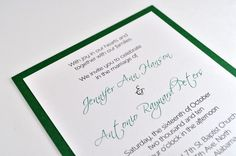 Green Shimmer Wedding Invitation...but a different shade of green