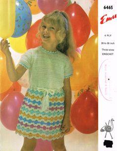 Emu 6465  girls dress vintage crochet pattern PDF by Ellisadine, £1.00