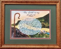 Psalm 23 The Lord is my shepherd I shall not want Bible scripture framed and matted gift and home decor