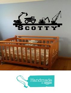 Boy's room Wall Shelf name construction Crane dump truck equipment diy wall art…
