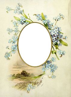 Forget-Me-Nots Antique Frame 1900's