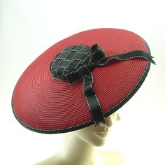 Red Saucer Hat for Women - 1920s Mini Boater Hat - Races Hat via Etsy