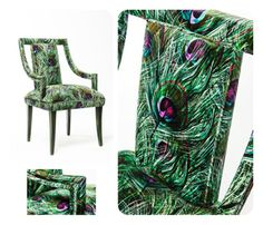 Munna Corset Chair with peacock fabric