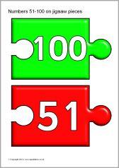 Numbers 51-100 on jigsaw pieces (SB10894) - SparkleBox