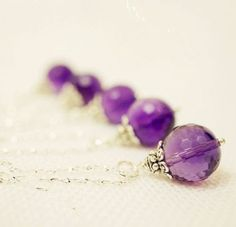 Simple Amethyst Necklace - Single Briolette Amethyst Pendant February Birthstone