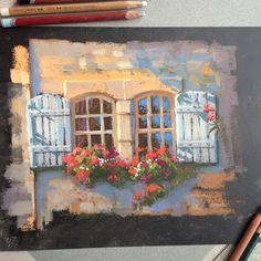 Окошки #графика #пастель #рисунок #pastel #window