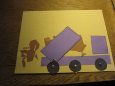 Paper dump truck dumping. Part of the series of paper construction trucks on http://www.kyndrasteinmann.com