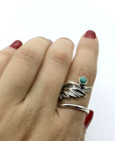 Angel Wing Ring, silver wing ring, angel ring, wing ring, handmade angel wing ring with gemstone. birthstone angel ring one size fits all adjustable ring handmade wing ring. Angel ring designed by Eleni Pantagis contact us about gemstone replacement. Turquoise Rings, Turquoise Gemstone, Angel Wing Ring, Italian Gold Jewelry, Body Jewellery, Silver Jewellery, Jewelry Website, Cute Rings, Engraved Necklace
