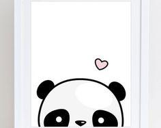 Zijwaartse Panda afdrukbare schattige Panda afdrukken Kawaii