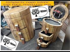 How I made this Rustic Log Live Edge Jewellery Box with Mirror - YouTube Jewelry Box, Rustic Jewelry, Jewellery, Leather Drawer Pulls, Woodworking Box, Craft Shop, Round Mirrors, Live, Jewellery Box