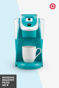 Up the cool factor on your Keurig 2.0 coffeemaker with a splash of blue. Add it to your wedding registry for a fun way to brighten up your mornings with a cup or carafe of your favorite brew.