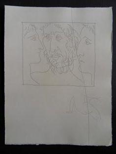 Pablo PICASSO : Trois têtes d'homme, Gravure originale (1931) 1