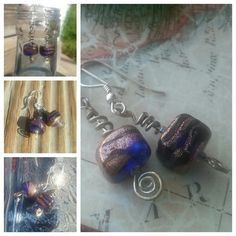 Cobalt Blue and Bronze Glass Bead Earrings by SomethingSeaBlue, $25.00