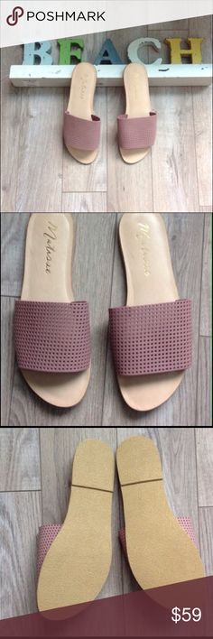 Anthropologie Matisse Playa Sandals 9 Host Pick Sleek perforated leather defines a minimalist slip on sandal set on a slim sole by Matisse. Brand new without box. Perfect except for a light scratch inside.   Color  is a dusty pink. Anthropologie Shoes Sandals