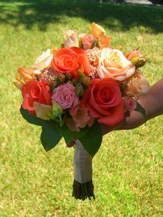 coral wedding flowers