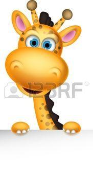 muñeca de papel: jirafa linda de la historieta con la muestra en blanco Vectores