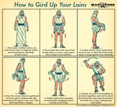 """nevver: """" How to Gird Up Your Loins: An Illustrated Guide """" A pictorial guide to girding loins PLUS bonus explanation of the etymology of the phrase """"to gird (up) one's loins"""", with the generalised..."""