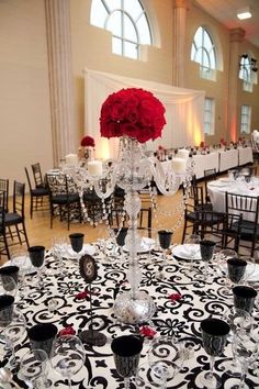 Black, White, Red, Damask. Candleabra. Red Rose Flower Ball. PERFECTION! LOVE IT!