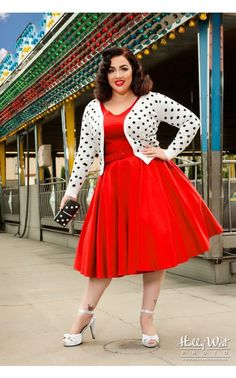 Pinup Couture- Havana Nights Dress in Red - Plus Size Plus Size Holiday Dresses, Dress Plus Size, Plus Size Outfits, Curvy Fashion, Plus Size Fashion, Girl Fashion, Fashion Dresses, Fashion Ideas, Look Rockabilly