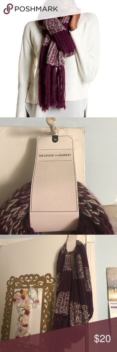 Purple Striped Knit Scarf Chunky purple and white striped wool scarf to keep you warm and fashionable during the cold weather. New never worn! ❌no trades❌ all offers welcome 😊 Melrose and Market Accessories Scarves & Wraps