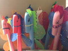 Noodle Stick Horses - old pool noodles get another get a second life as stick horses. This is just a fantastic idea for a Princess and Knight Party Sofia The First Birthday Party, Unicorn Birthday Parties, 5th Birthday, Birthday Ideas, Sofia Party, Birthday Favors, My Little Pony Party, Kids Crafts, Kids Diy