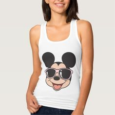 Mickey | Mickey Smiling Sunglasses 3 T-Shirt. rf=238591462349332196 Disney Tank Tops, Classic Mickey Mouse, Fast Fashion, Wardrobe Staples, Basic Tank Top, Fitness Models, Sunglasses, Female, Casual