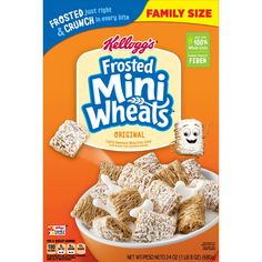 Greet the day with Kellogg's Original Frosted Mini-Wheats—a wholesome, low fat breakfast cereal that's built for big days. These bite-size biscuit. Low Fat Breakfast, Breakfast Cereal, Breakfast Ideas, Wheat Biscuits, High Fiber Cereal, Cereal Packaging, Homemade Trail Mix, Healthy Cereal, Healthy Food