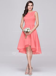 Corte A/Princesa Escote redondo Asimétrico Satén Dama de honor (007060608)