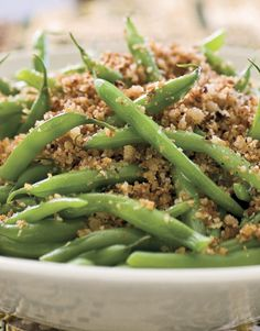 Fresh green beans elevate this country classic to the urban palate.  The beans can be blanched and refridgerated the day before.  Toss them with good-quality bread crumbs on the day of the meal, and heat through.