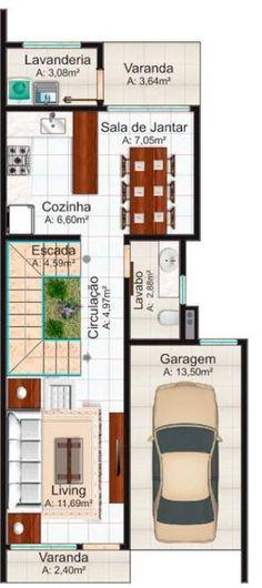 Flat e design de duplex moderno e bonito com 3 quartos e Plantas Duplex, Apartment Layout, House Blueprints, Architecture Plan, Home Furniture, House Plans, Villa, Floor Plans, Flooring