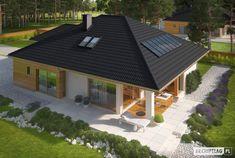 Liv 3 G1 - projekt domu - Archipelag Modern Bungalow House, Bungalow House Plans, Dream House Plans, Modern Small House Design, Bungalow House Design, Casas Country, A Frame House Plans, House Cladding, House Design Pictures