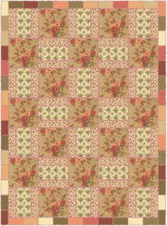 """Floral Rag Quilt Free Pattern; I made this one. I wanted it to look """"Old Hollywood"""" so I used Bark Cloth for the big squares."""