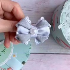 Diy ribbon flower with beads grosgrain flowers with beads Diy Hair Bows, Making Hair Bows, Ribbon Hair Bows, Diy Ribbon, Ribbon Work, Ribbon Crafts, Flower Crafts, Tulle Bows, Flower Diy