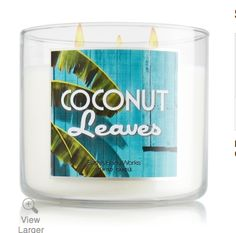 bath and body works candle  any coconut lovers out there who just want to smell the fresh coconuts on vacation well you can have it at home with the BBw candle coconut leaves