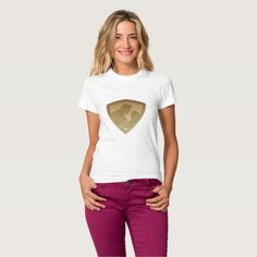 Rugby player shield metallic gold t-shirts. Rugby World Cup women's t-shirt with an illustration of a rugby player running passing the ball on isolated background done in metallic gold style set inside shield. #rwc #rwc2015 #rugbyworldcup