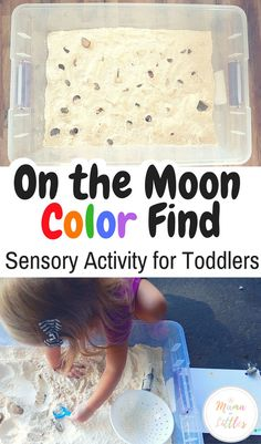 Moon Sensory Play and Color Find - Mama of Littles - Thimble and Twig - Family Adventures and Nature Play - Moon Sensory Play and Color Find - Mama of Littles Explore outer space with this moon dust sensory activity! Color Activities For Toddlers, Activities For 2 Year Olds, Space Activities, Toddler Learning Activities, Infant Activities, Winter Activities, Halloween Activities, Daily Activities, Christmas Activities